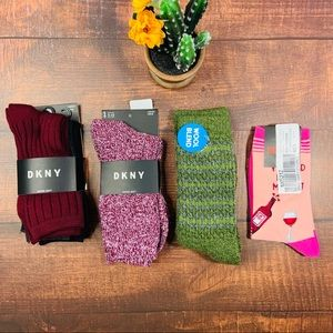 NWT BUNDLE DKNY/Columbia Crew Socks 6 pairs